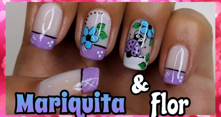 Decoración De Uñas Mariquita Y Flor Nailart By Andy